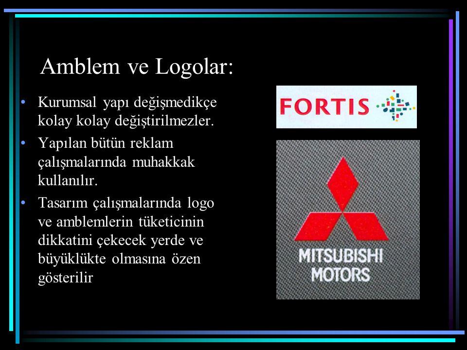 Amblem ve Logolar: Kurumsal yapı değişmedikçe kolay kolay değiştirilmezler. Yapılan bütün reklam çalışmalarında muhakkak kullanılır. Tasarım çalışmala