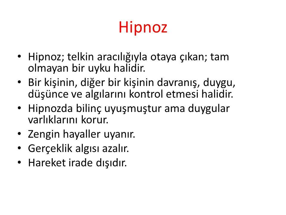 Hipnoz Hipnoz; telkin aracılığıyla otaya çıkan; tam olmayan bir uyku halidir. Bir kişinin, diğer bir kişinin davranış, duygu, düşünce ve algılarını ko