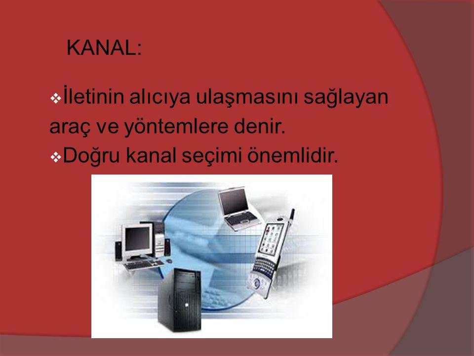 KANAL:  İletinin alıcıya ulaşmasını sağlayan araç ve yöntemlere denir.  Doğru kanal seçimi önemlidir.