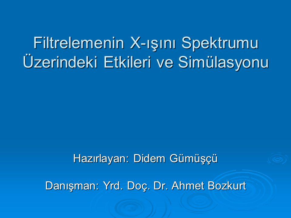 Filtrelemenin X-ışını Spektrumu Üzerindeki Etkileri ve Simülasyonu Hazırlayan: Didem Gümüşçü Danışman: Yrd.