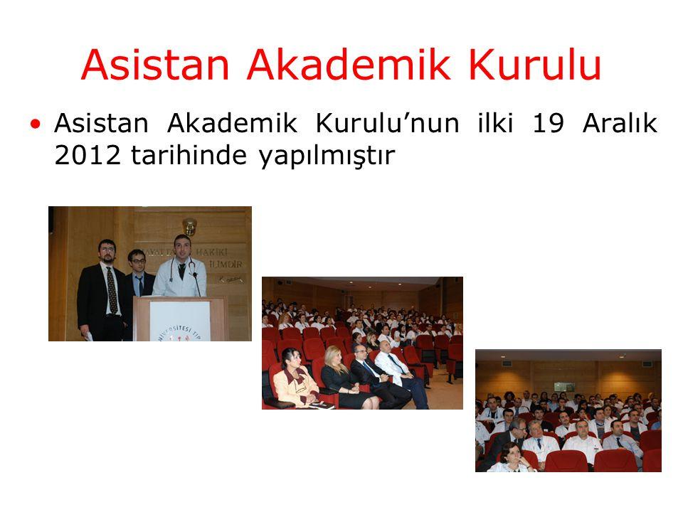 Asistan Akademik Kurulu'nun ilki 19 Aralık 2012 tarihinde yapılmıştır Asistan Akademik Kurulu
