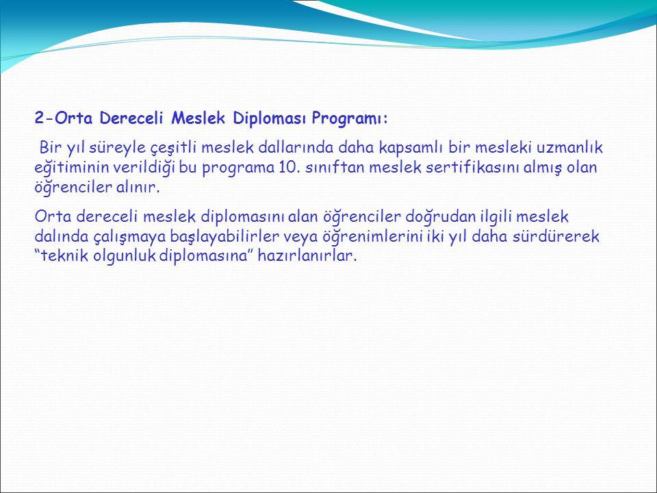 2-Orta Dereceli Meslek Diploması Programı: Bir yıl süreyle çeşitli meslek dallarında daha kapsamlı bir mesleki uzmanlık eğitiminin verildiği bu progra