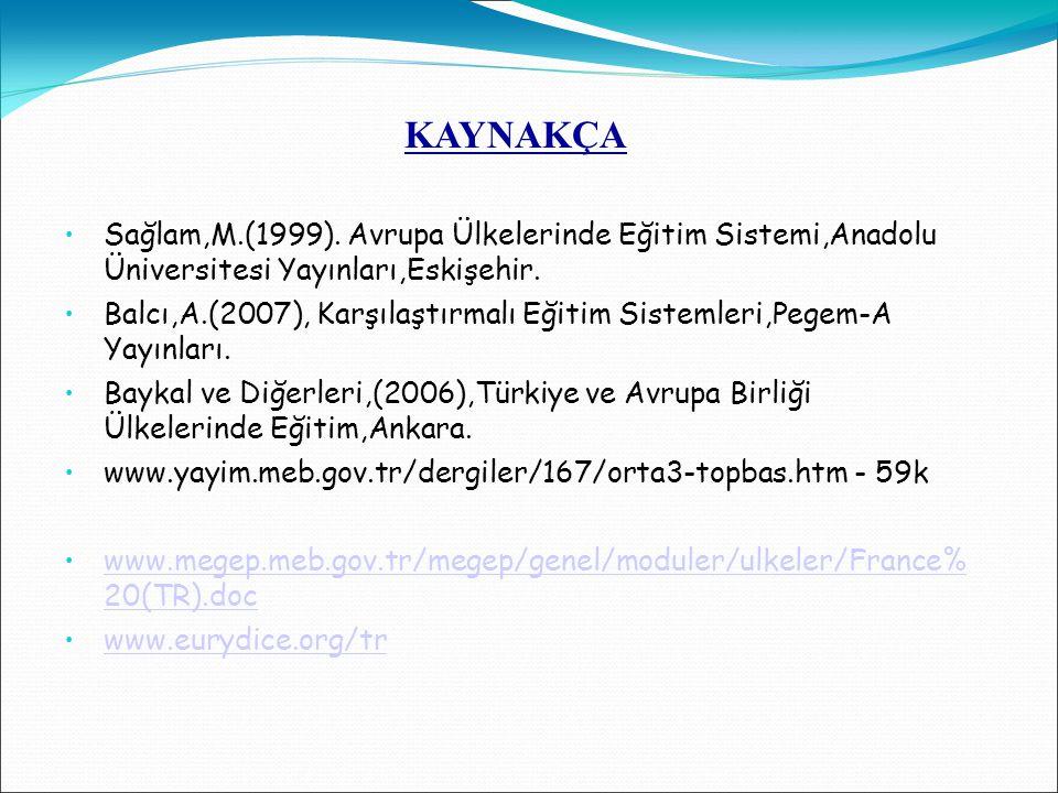 KAYNAKÇA Sağlam,M.(1999). Avrupa Ülkelerinde Eğitim Sistemi,Anadolu Üniversitesi Yayınları,Eskişehir. Balcı,A.(2007), Karşılaştırmalı Eğitim Sistemler
