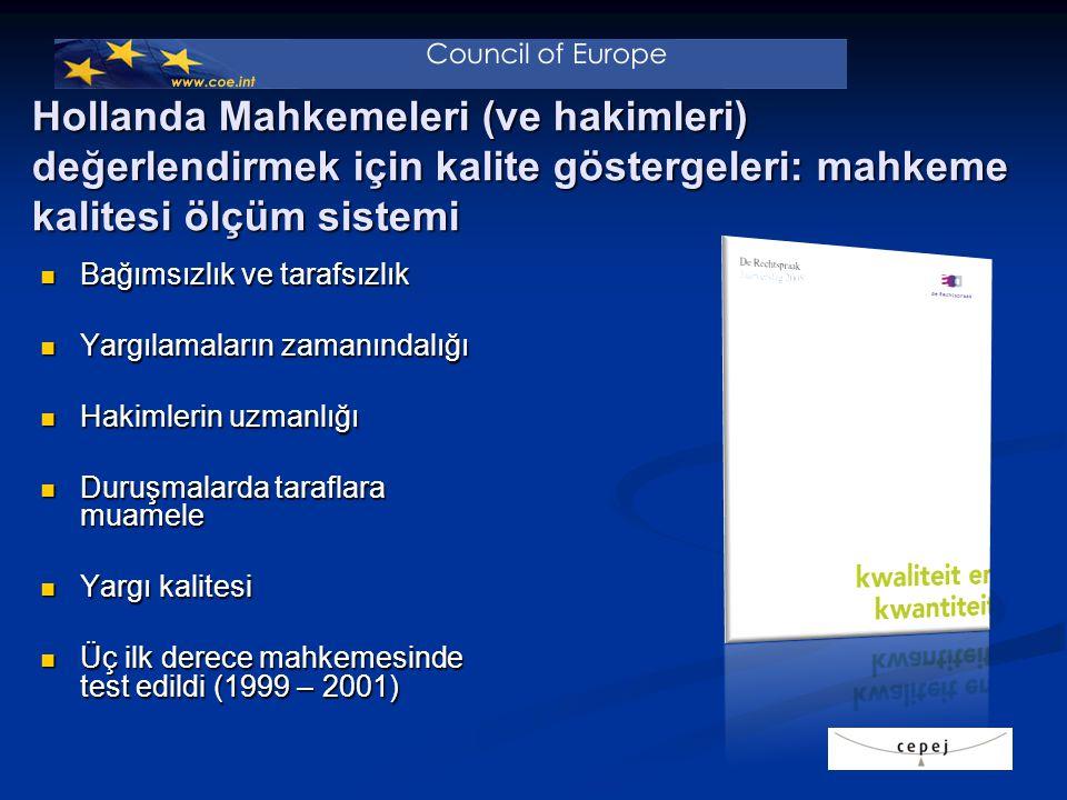 Hollanda Mahkemeleri (ve hakimleri) değerlendirmek için kalite göstergeleri: mahkeme kalitesi ölçüm sistemi Bağımsızlık ve tarafsızlık Bağımsızlık ve tarafsızlık Yargılamaların zamanındalığı Yargılamaların zamanındalığı Hakimlerin uzmanlığı Hakimlerin uzmanlığı Duruşmalarda taraflara muamele Duruşmalarda taraflara muamele Yargı kalitesi Yargı kalitesi Üç ilk derece mahkemesinde test edildi (1999 – 2001) Üç ilk derece mahkemesinde test edildi (1999 – 2001)