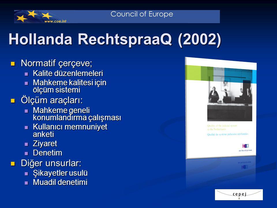 Hollanda RechtspraaQ (2002) Normatif çerçeve; Normatif çerçeve; Kalite düzenlemeleri Kalite düzenlemeleri Mahkeme kalitesi için ölçüm sistemi Mahkeme kalitesi için ölçüm sistemi Ölçüm araçları: Ölçüm araçları: Mahkeme geneli konumlandırma çalışması Mahkeme geneli konumlandırma çalışması Kullanıcı memnuniyet anketi Kullanıcı memnuniyet anketi Ziyaret Ziyaret Denetim Denetim Diğer unsurlar: Diğer unsurlar: Şikayetler usulü Şikayetler usulü Muadil denetimi Muadil denetimi