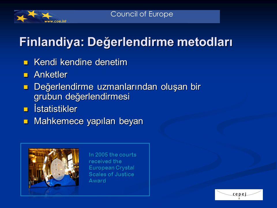 Finlandiya: Değerlendirme metodları Kendi kendine denetim Kendi kendine denetim Anketler Anketler Değerlendirme uzmanlarından oluşan bir grubun değerlendirmesi Değerlendirme uzmanlarından oluşan bir grubun değerlendirmesi İstatistikler İstatistikler Mahkemece yapılan beyan Mahkemece yapılan beyan In 2005 the courts received the European Crystal Scales of Justice Award