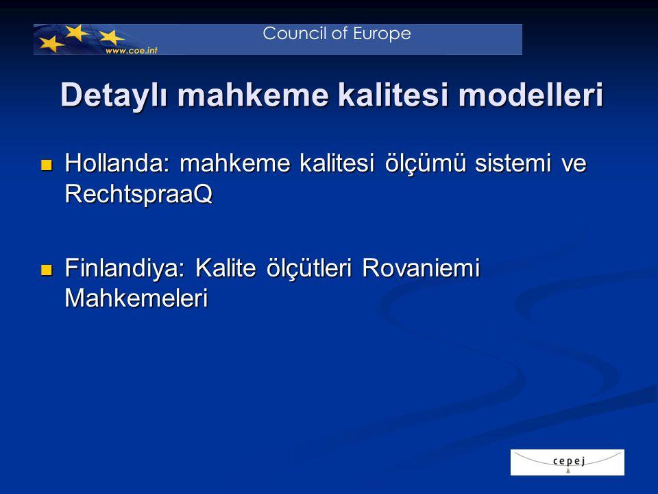 Detaylı mahkeme kalitesi modelleri Hollanda: mahkeme kalitesi ölçümü sistemi ve RechtspraaQ Hollanda: mahkeme kalitesi ölçümü sistemi ve RechtspraaQ Finlandiya: Kalite ölçütleri Rovaniemi Mahkemeleri Finlandiya: Kalite ölçütleri Rovaniemi Mahkemeleri