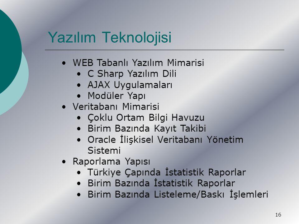 16 WEB Tabanlı Yazılım Mimarisi C Sharp Yazılım Dili AJAX Uygulamaları Modüler Yapı Veritabanı Mimarisi Çoklu Ortam Bilgi Havuzu Birim Bazında Kayıt Takibi Oracle İlişkisel Veritabanı Yönetim Sistemi Raporlama Yapısı Türkiye Çapında İstatistik Raporlar Birim Bazında İstatistik Raporlar Birim Bazında Listeleme/Baskı İşlemleri Yazılım Teknolojisi