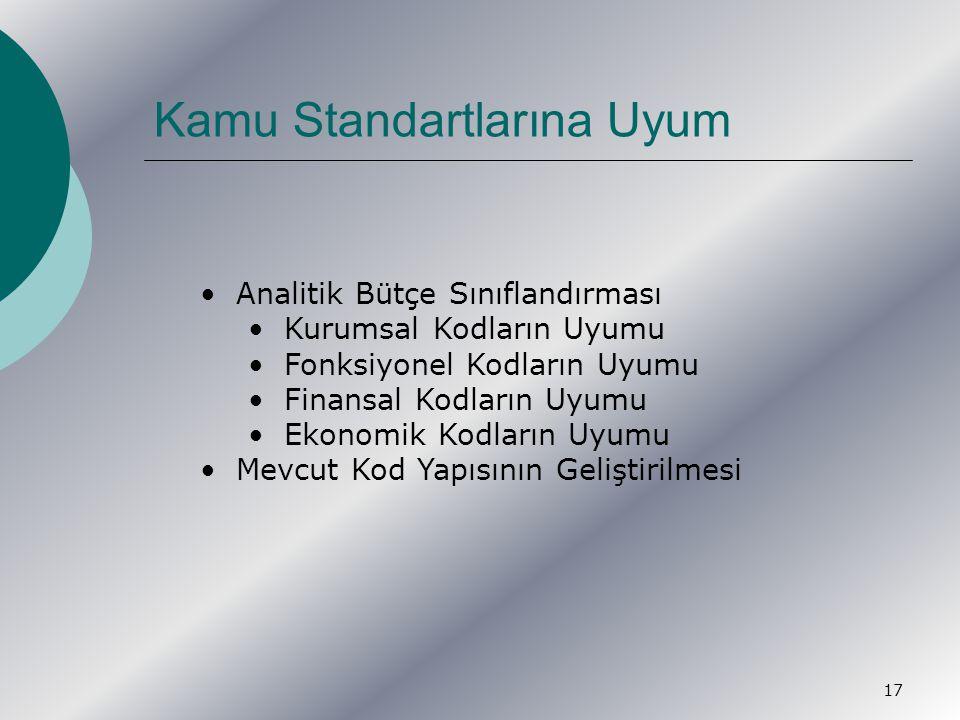 17 Kamu Standartlarına Uyum Analitik Bütçe Sınıflandırması Kurumsal Kodların Uyumu Fonksiyonel Kodların Uyumu Finansal Kodların Uyumu Ekonomik Kodların Uyumu Mevcut Kod Yapısının Geliştirilmesi
