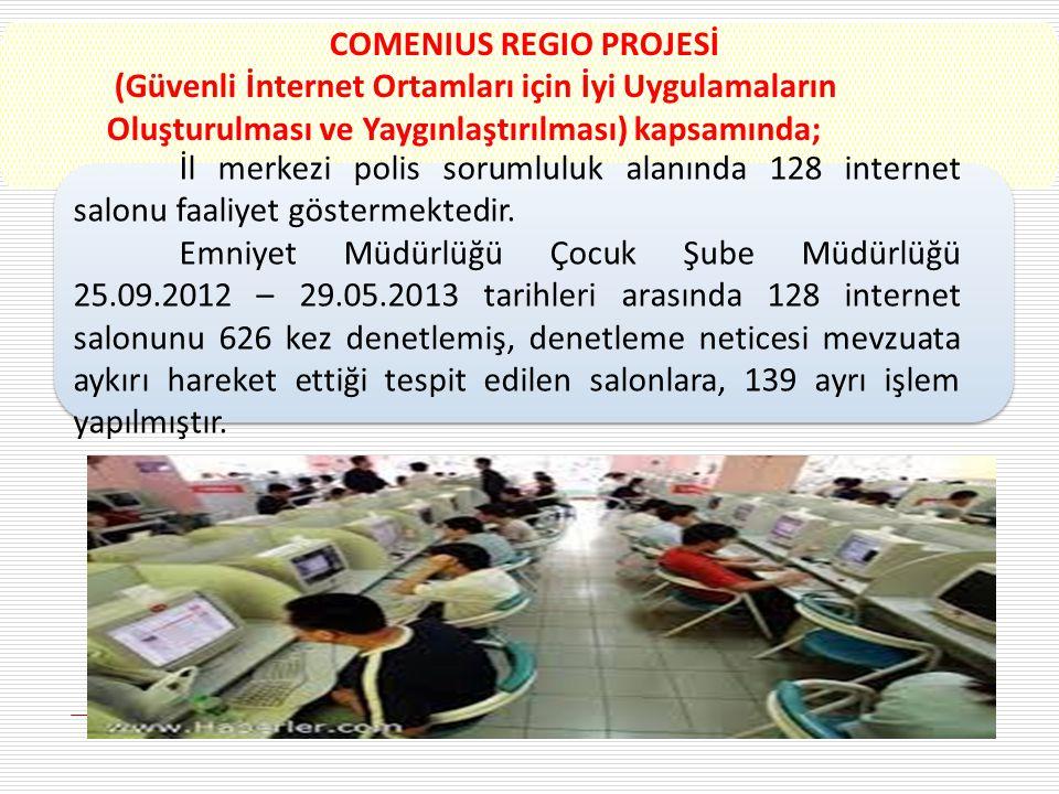 İl merkezi polis sorumluluk alanında 128 internet salonu faaliyet göstermektedir. Emniyet Müdürlüğü Çocuk Şube Müdürlüğü 25.09.2012 – 29.05.2013 tarih
