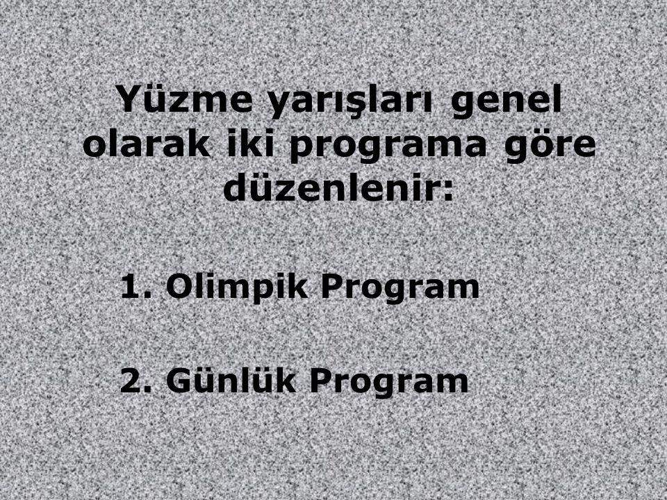 Yüzme yarışları genel olarak iki programa göre düzenlenir: 1. Olimpik Program 2. Günlük Program