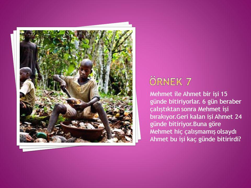 Mehmet ile Ahmet bir işi 15 günde bitiriyorlar.