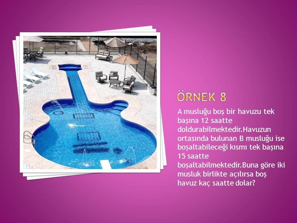 A musluğu boş bir havuzu tek başına 12 saatte doldurabilmektedir.Havuzun ortasında bulunan B musluğu ise boşaltabileceği kısmı tek başına 15 saatte boşaltabilmektedir.Buna göre iki musluk birlikte açılırsa boş havuz kaç saatte dolar?