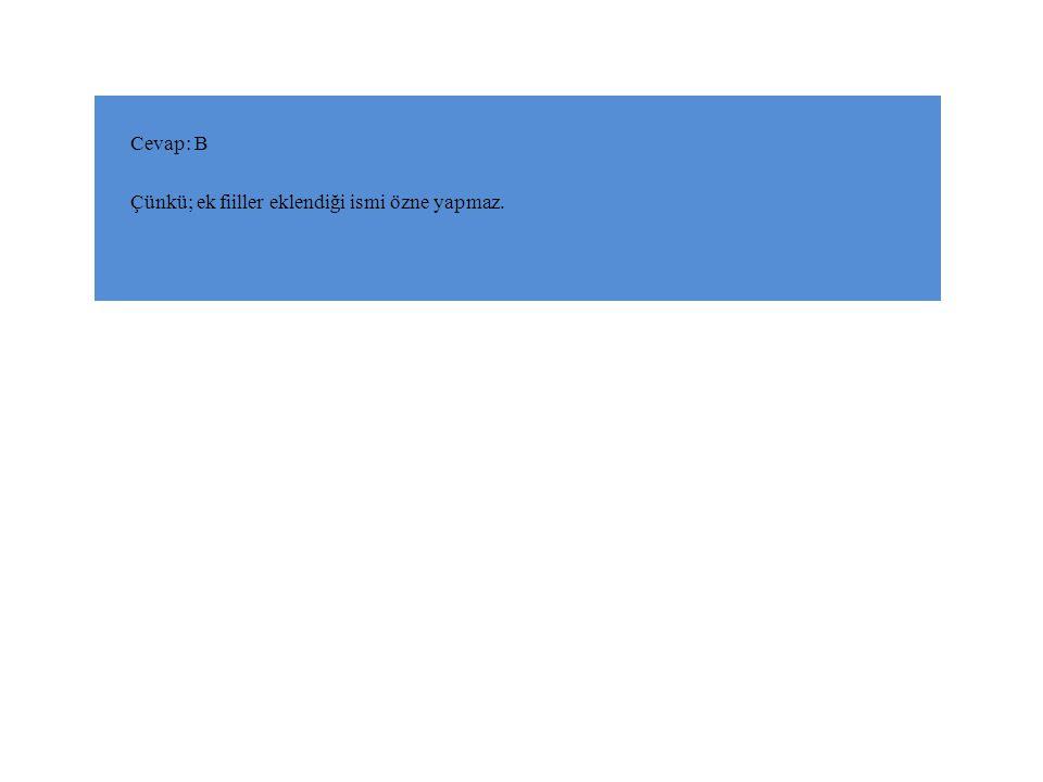 Cevap: B Çünkü; ek fiiller eklendiği ismi özne yapmaz.