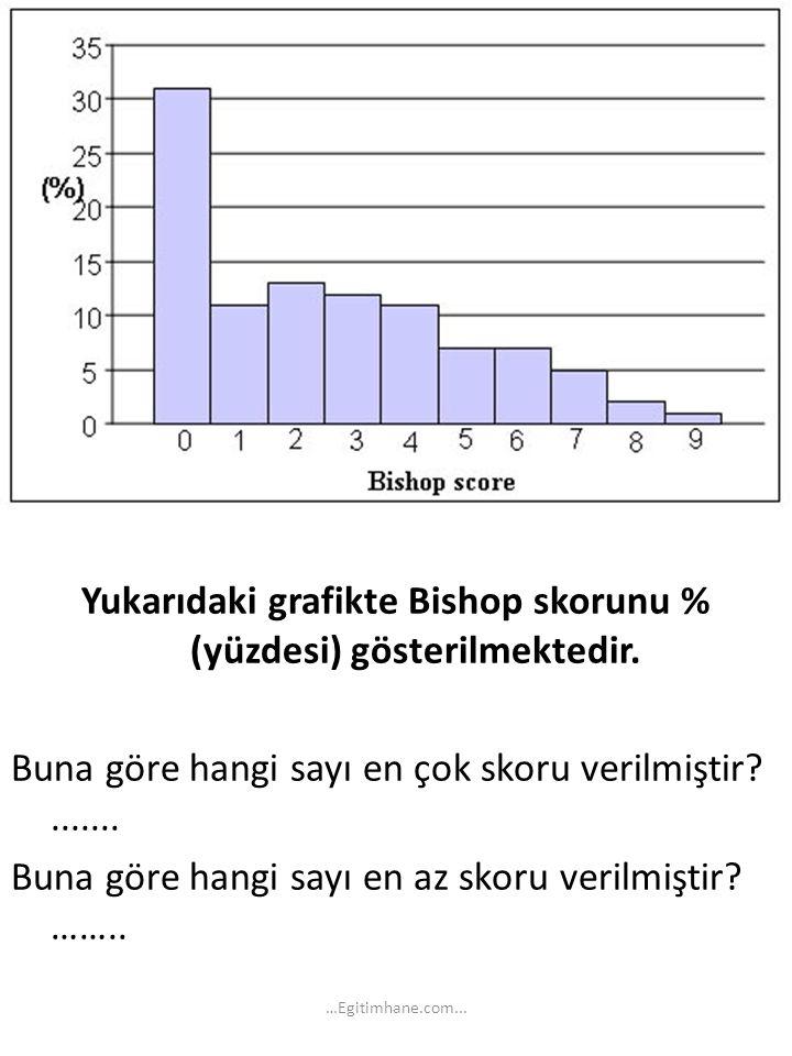 Yukarıdaki grafikte Bishop skorunu % (yüzdesi) gösterilmektedir. Buna göre hangi sayı en çok skoru verilmiştir?....... Buna göre hangi sayı en az skor