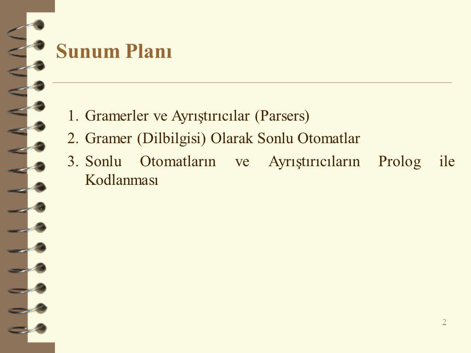 Sunum Planı 2 1.Gramerler ve Ayrıştırıcılar (Parsers) 2.Gramer (Dilbilgisi) Olarak Sonlu Otomatlar 3.Sonlu Otomatların ve Ayrıştırıcıların Prolog ile