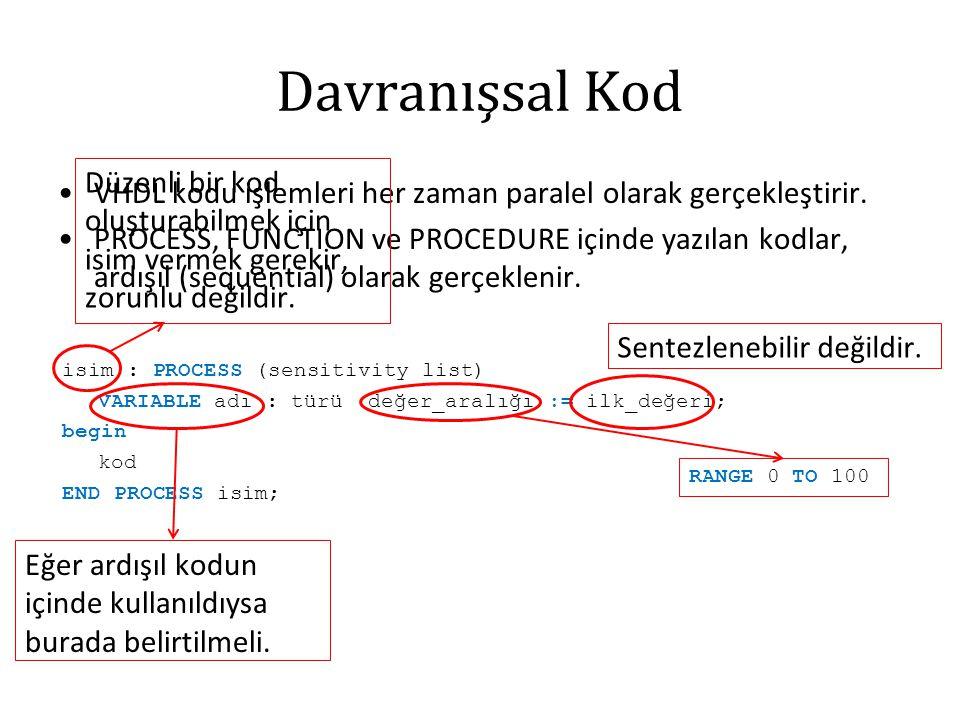 Davranışsal Kod VHDL kodu işlemleri her zaman paralel olarak gerçekleştirir.