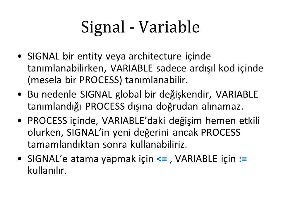 Signal - Variable SIGNAL bir entity veya architecture içinde tanımlanabilirken, VARIABLE sadece ardışıl kod içinde (mesela bir PROCESS) tanımlanabilir.