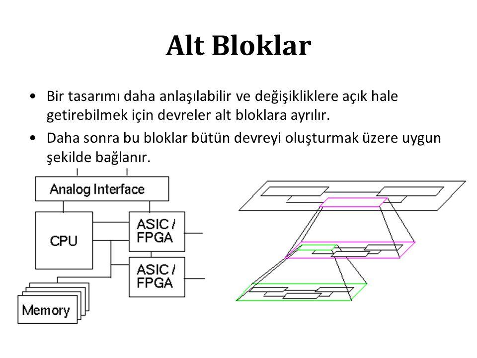 Alt Bloklar Bir tasarımı daha anlaşılabilir ve değişikliklere açık hale getirebilmek için devreler alt bloklara ayrılır.