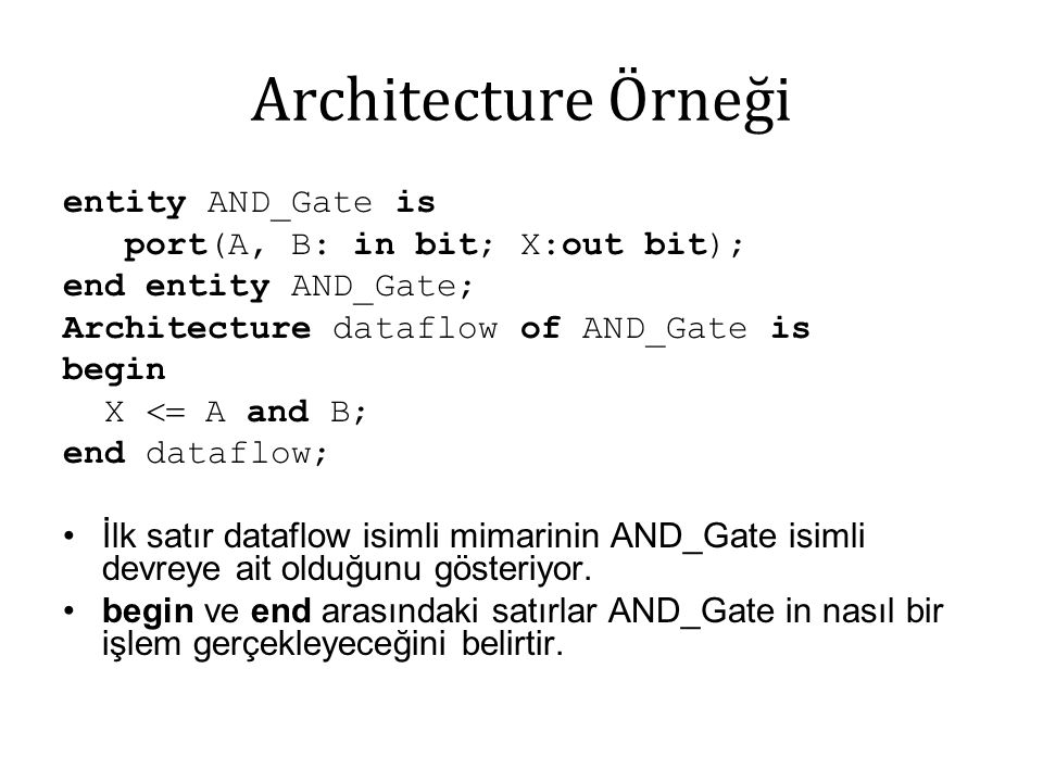Architecture Örneği entity AND_Gate is port(A, B: in bit; X:out bit); end entity AND_Gate; Architecture dataflow of AND_Gate is begin X  A and B; en