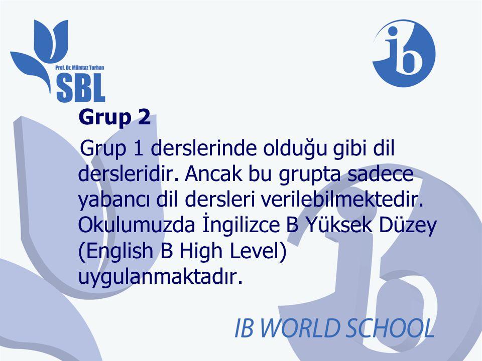 Grup 2 Grup 1 derslerinde olduğu gibi dil dersleridir. Ancak bu grupta sadece yabancı dil dersleri verilebilmektedir. Okulumuzda İngilizce B Yüksek Dü