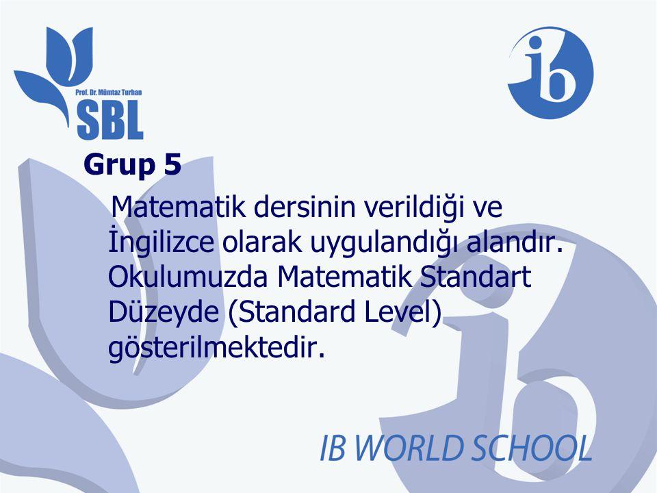 Grup 5 Matematik dersinin verildiği ve İngilizce olarak uygulandığı alandır. Okulumuzda Matematik Standart Düzeyde (Standard Level) gösterilmektedir.