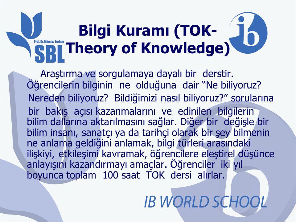 """Bilgi Kuramı (TOK- Theory of Knowledge) Araştırma ve sorgulamaya dayalı bir derstir. Öğrencilerin bilginin ne olduğuna dair """"Ne biliyoruz? Nereden bil"""