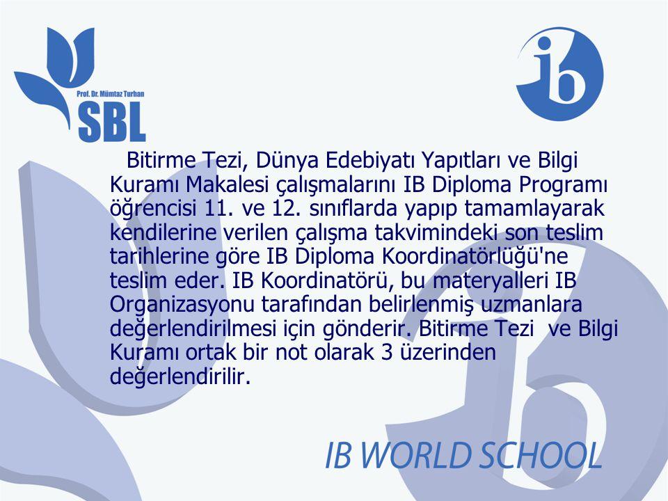 Bitirme Tezi, Dünya Edebiyatı Yapıtları ve Bilgi Kuramı Makalesi çalışmalarını IB Diploma Programı öğrencisi 11. ve 12. sınıflarda yapıp tamamlayarak