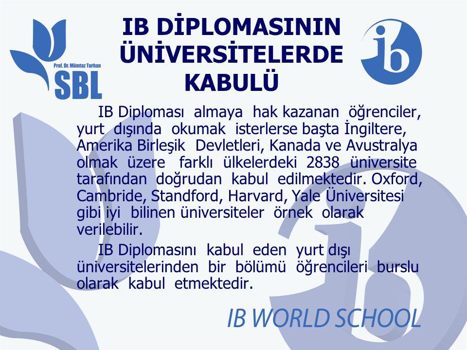 IB DİPLOMASININ ÜNİVERSİTELERDE KABULÜ IB Diploması almaya hak kazanan öğrenciler, yurt dışında okumak isterlerse başta İngiltere, Amerika Birleşik De