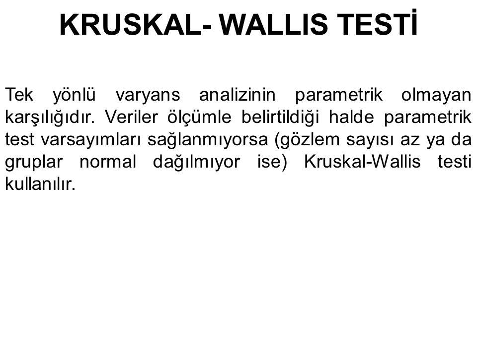 KRUSKAL- WALLIS TESTİ Tek yönlü varyans analizinin parametrik olmayan karşılığıdır. Veriler ölçümle belirtildiği halde parametrik test varsayımları sa