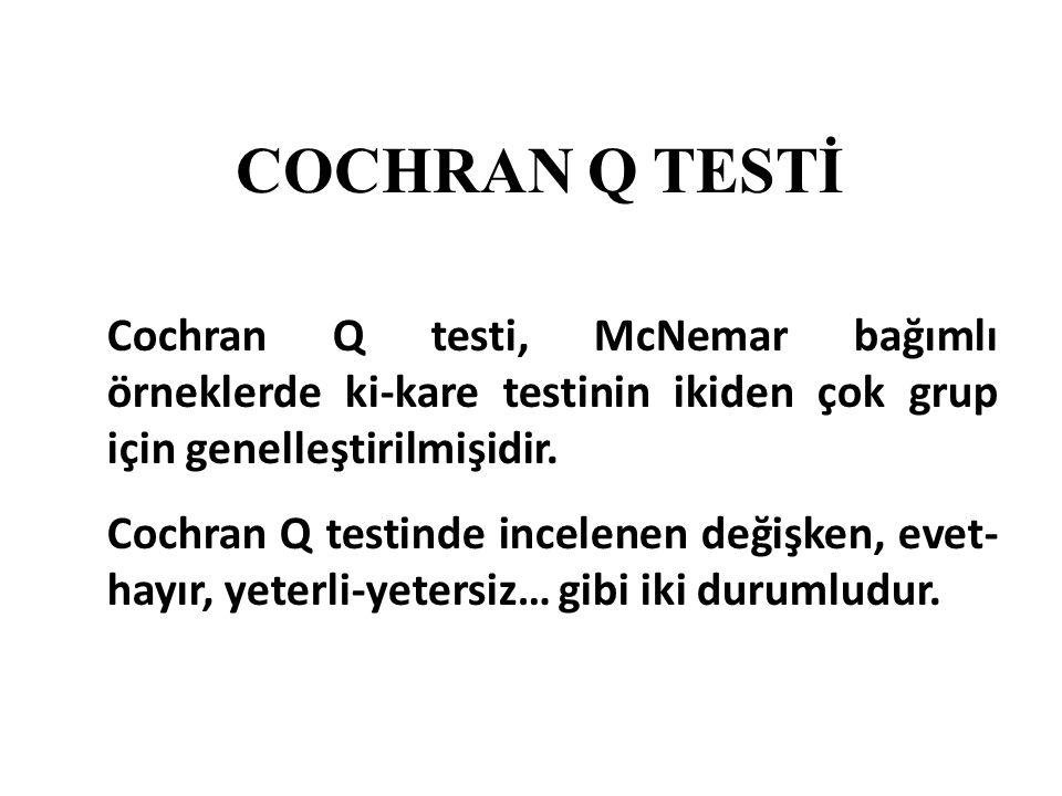 COCHRAN Q TESTİ Cochran Q testi, McNemar bağımlı örneklerde ki-kare testinin ikiden çok grup için genelleştirilmişidir. Cochran Q testinde incelenen d