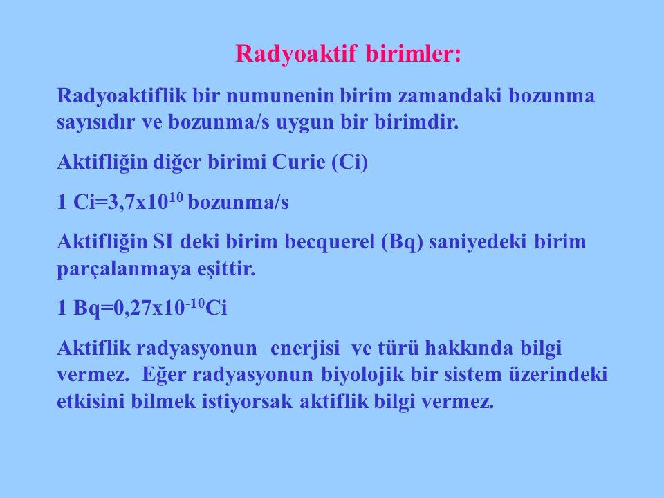 Radyoaktif birimler: Radyoaktiflik bir numunenin birim zamandaki bozunma sayısıdır ve bozunma/s uygun bir birimdir. Aktifliğin diğer birimi Curie (Ci)
