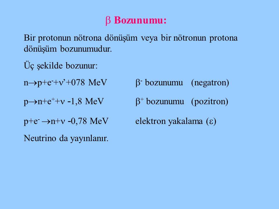  Bozunumu: Bir protonun nötrona dönüşüm veya bir nötronun protona dönüşüm bozunumudur. Üç şekilde bozunur: n  p+e - + '+078 MeV  - bozunumu(negatro