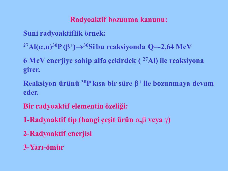 Radyoaktif bozunma kanunu: Suni radyoaktiflik örnek: 27 Al( ,n) 30 P (  + )  30 Si bu reaksiyonda Q=-2,64 MeV 6 MeV enerjiye sahip alfa çekirdek (