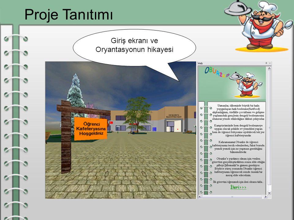 Proje Tanıtımı Giriş ekranı ve Oryantasyonun hikayesi