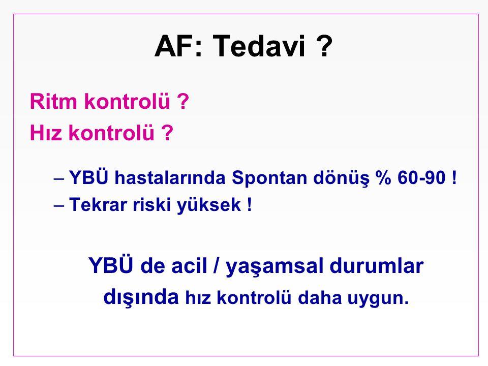 AF: Tedavi ? Ritm kontrolü ? Hız kontrolü ? –YBÜ hastalarında Spontan dönüş % 60-90 ! –Tekrar riski yüksek ! YBÜ de acil / yaşamsal durumlar dışında h