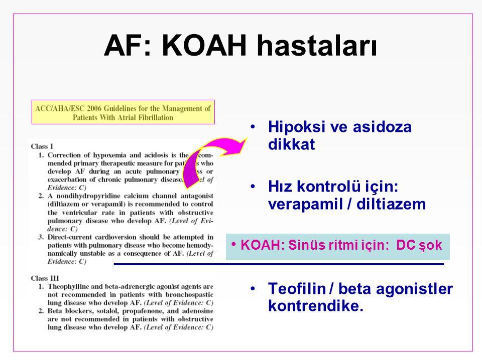 AF: KOAH hastaları Hipoksi ve asidoza dikkat Hız kontrolü için: verapamil / diltiazem Teofilin / beta agonistler kontrendike. KOAH: Sinüs ritmi için: