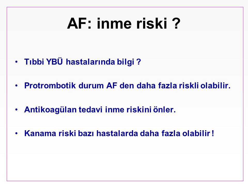 AF: inme riski ? Tıbbi YBÜ hastalarında bilgi ? Protrombotik durum AF den daha fazla riskli olabilir. Antikoagülan tedavi inme riskini önler. Kanama r