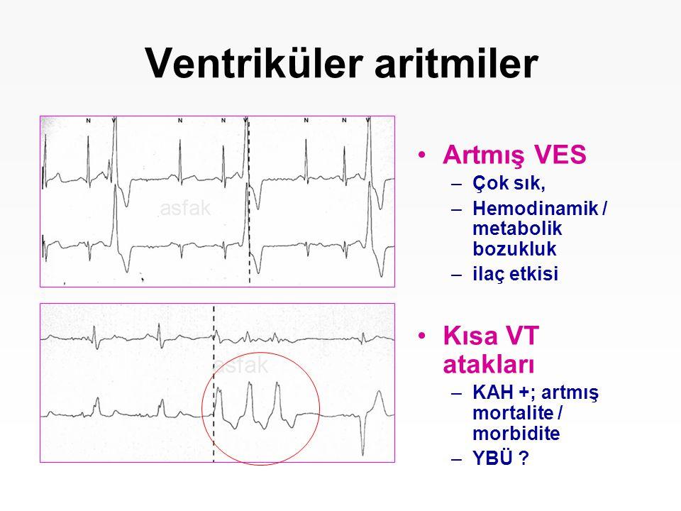 Ventriküler aritmiler Artmış VES –Çok sık, –Hemodinamik / metabolik bozukluk –ilaç etkisi Kısa VT atakları –KAH +; artmış mortalite / morbidite –YBÜ ?