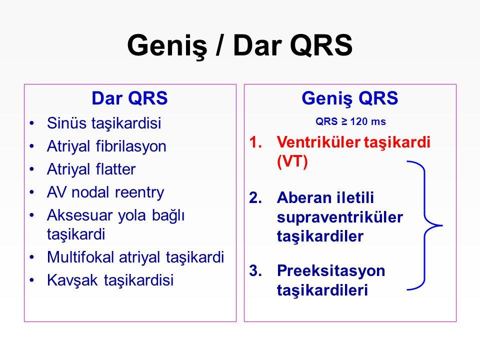 Dar QRS Sinüs taşikardisi Atriyal fibrilasyon Atriyal flatter AV nodal reentry Aksesuar yola bağlı taşikardi Multifokal atriyal taşikardi Kavşak taşik