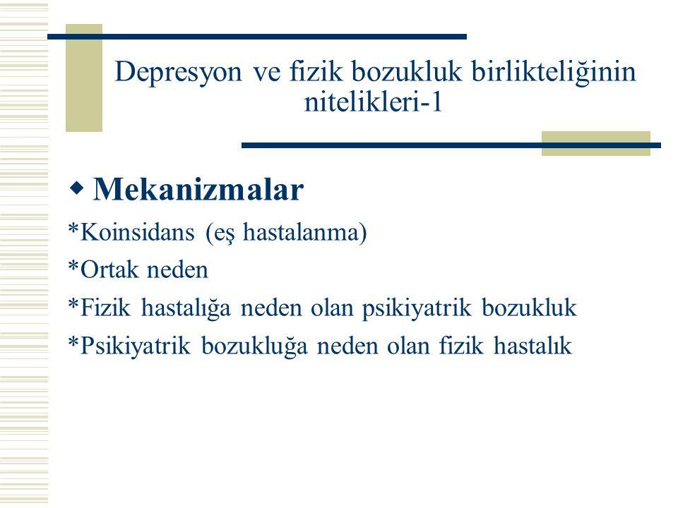 Depresyon ve fizik bozukluk birlikteliğinin nitelikleri-1  Mekanizmalar *Koinsidans (eş hastalanma) *Ortak neden *Fizik hastalığa neden olan psikiyat