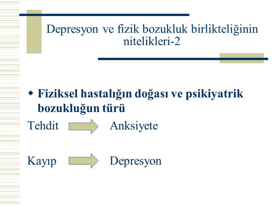 Depresyon ve fizik bozukluk birlikteliğinin nitelikleri-2  Fiziksel hastalığın doğası ve psikiyatrik bozukluğun türü Tehdit Anksiyete KayıpDepresyon