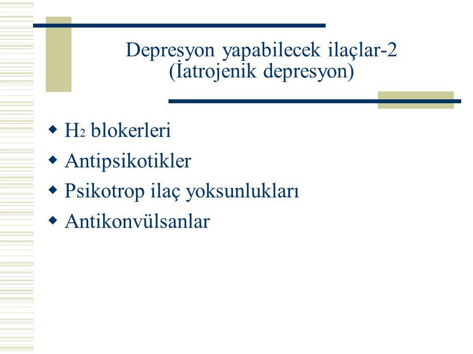Depresyon yapabilecek ilaçlar-2 (İatrojenik depresyon)  H 2 blokerleri  Antipsikotikler  Psikotrop ilaç yoksunlukları  Antikonvülsanlar