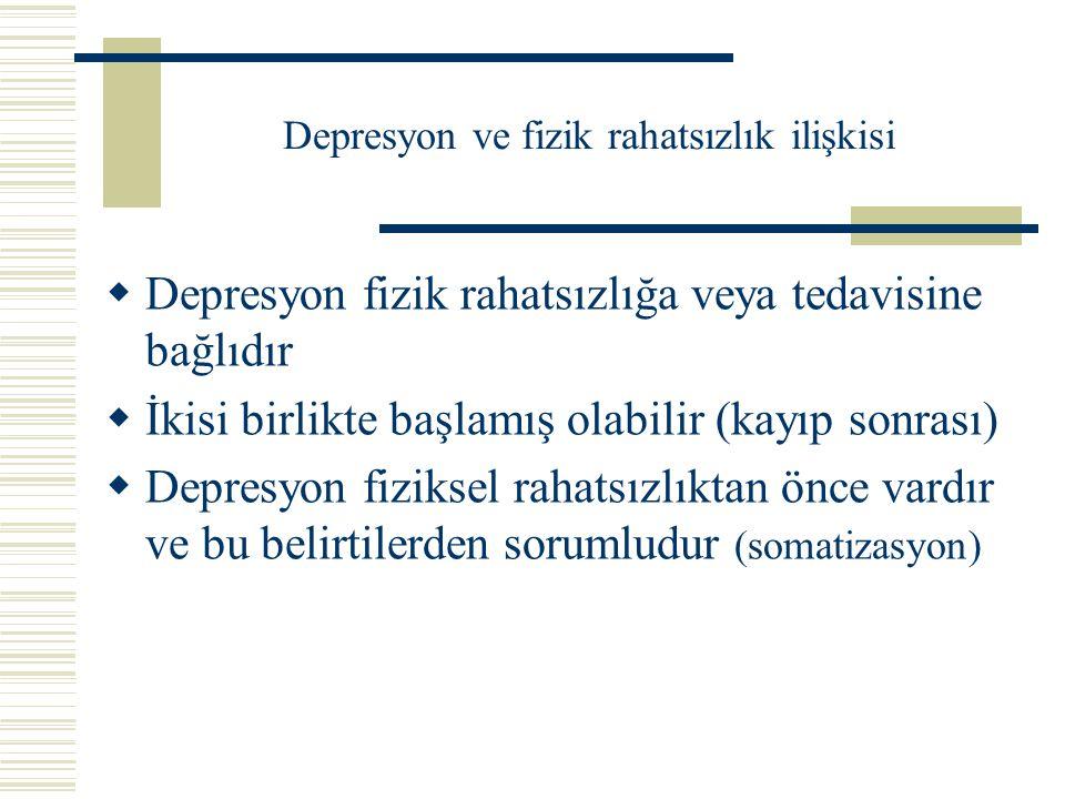 Fiziksel hastalıklar ve depresyon Depresyon fiziksel hastalığı olanlarda topluma göre daha sıktır:  Fiziksel hastalık ve tedavisinin özellikleri  Hastanın bireysel koşulları ve ruhsal özellikleri nedeniyle.