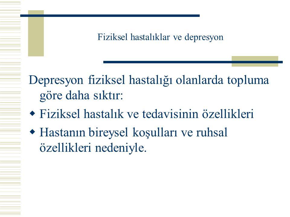 Bazı hastalıklarda depresyon yaygınlık oranları-2  Epilepsi%55  Hemodiyaliz%6.5  HIV enfeksiyonu%30  Huntington hastalığı %41  Hipertiroidizm%31  Multipl skleroz%6-57  Parkinson hastalığı%28-51  Stroke%27