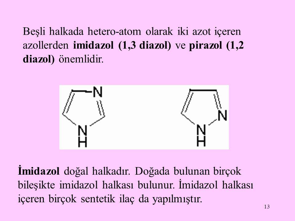 13 Beşli halkada hetero-atom olarak iki azot içeren azollerden imidazol (1,3 diazol) ve pirazol (1,2 diazol) önemlidir. İmidazol doğal halkadır. Doğad