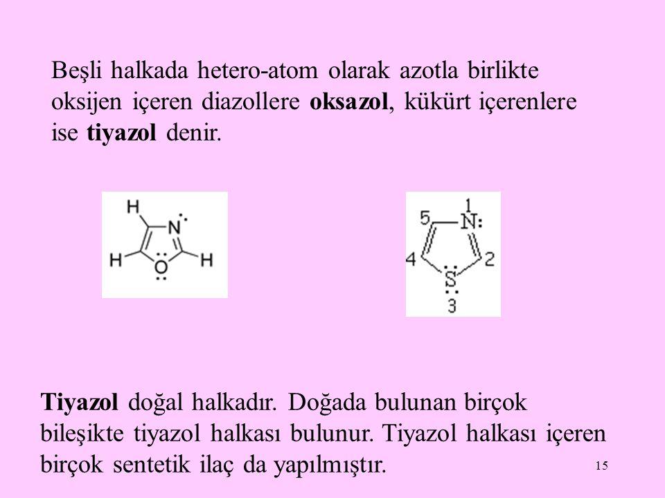 15 Beşli halkada hetero-atom olarak azotla birlikte oksijen içeren diazollere oksazol, kükürt içerenlere ise tiyazol denir. Tiyazol doğal halkadır. Do