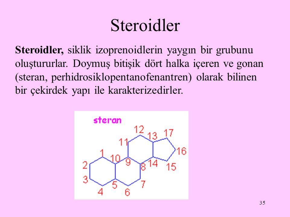 35 Steroidler Steroidler, siklik izoprenoidlerin yaygın bir grubunu oluştururlar. Doymuş bitişik dört halka içeren ve gonan (steran, perhidrosiklopent