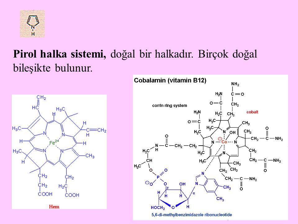 28 Pirimidin(1,3-diazin) ve pirazin (1,4-diazin) halkalarının kaynaşmış şekli pteridin halka sistemi olarak bilinir.