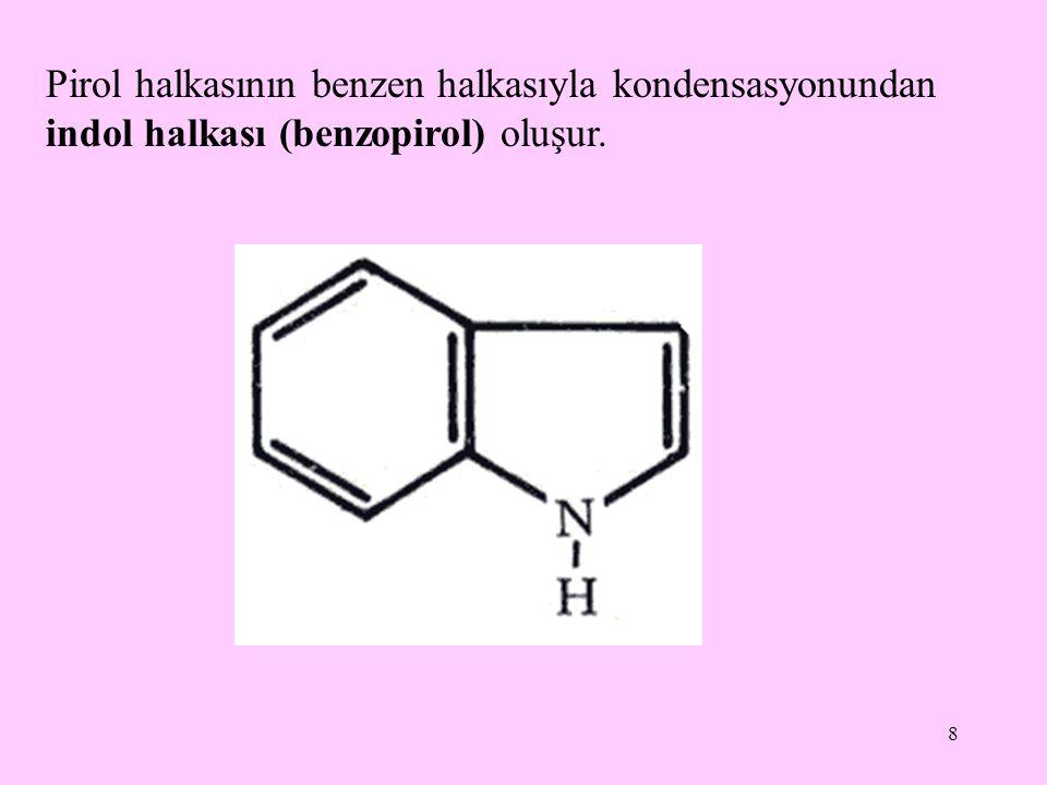 8 Pirol halkasının benzen halkasıyla kondensasyonundan indol halkası (benzopirol) oluşur.
